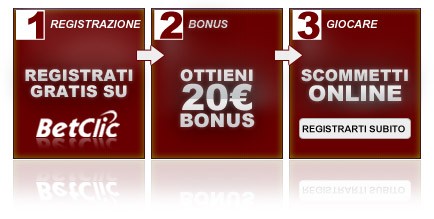 Il migliore bonus offerto in Italia: 20 gratis cliccando qui